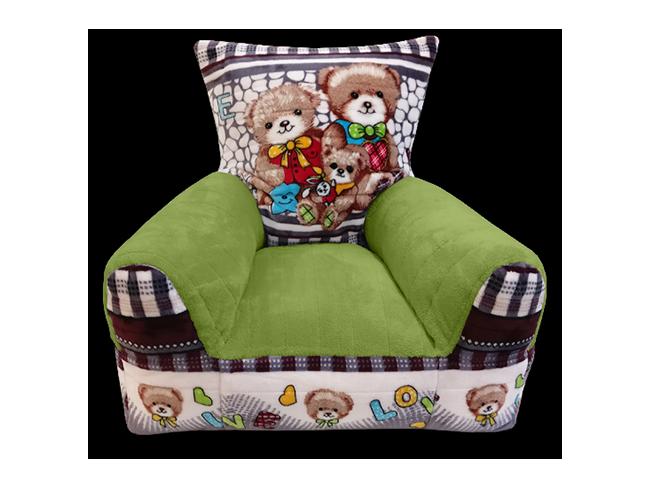 Macis gyerekfotel zöld színű karfával