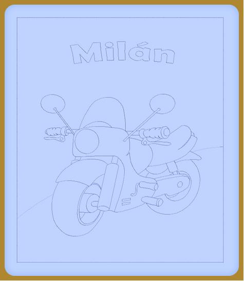 Motoros hímzett gyerekpaplan