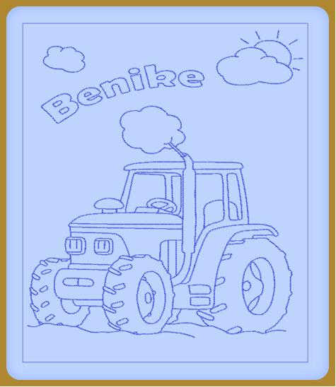 Traktoros hímzett gyerekpaplan